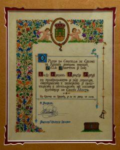 Nomeamento de Luís García Mañá como fillo adoptivo de Calvos de Randin