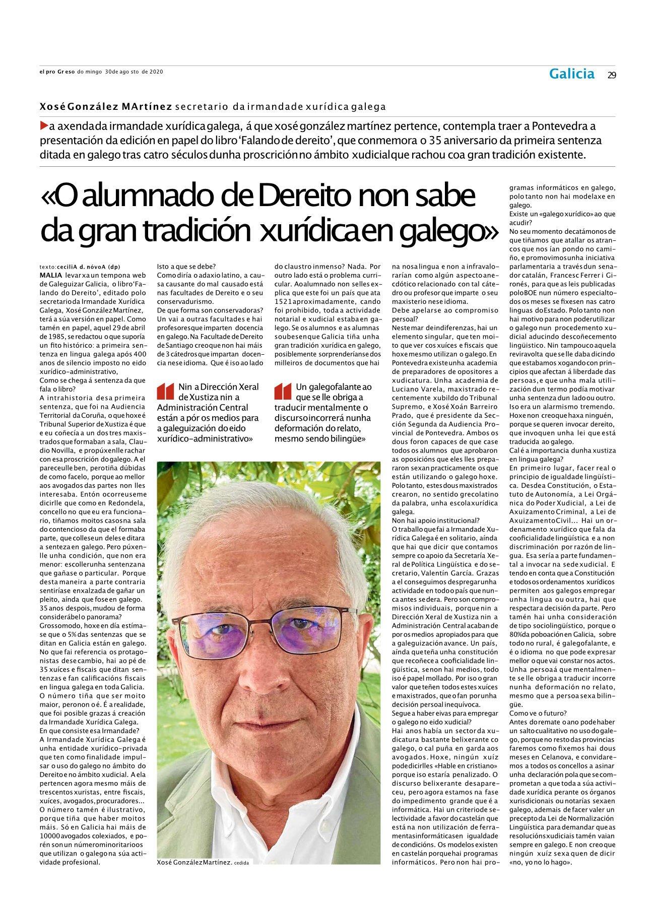 O alumnado de Dereito non sabe da gran tradición xurídica en galego